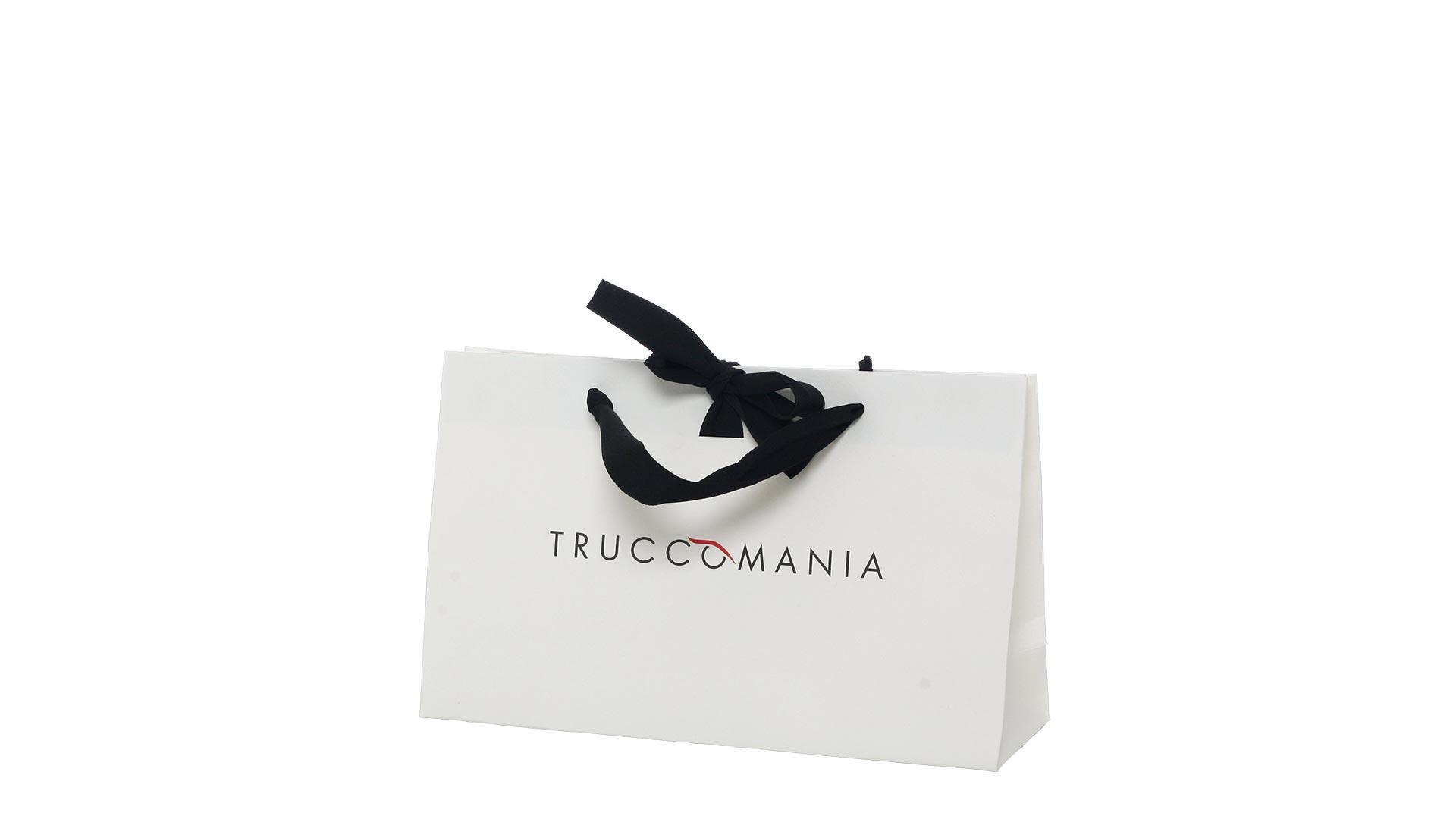 borsetta in carta di colore bianco con logo nero