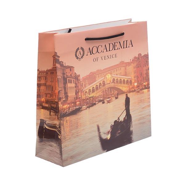 Borsetta in carta plastificata con disegno di venezia