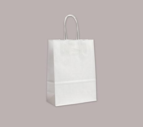 borsetta in carta bianca su sfondo grigio