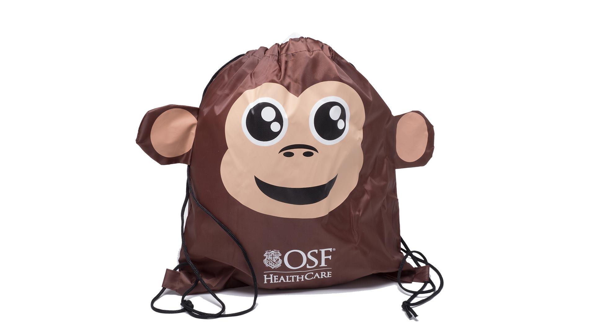 borsetta a zainetto con raffigurata una scimmia marrone