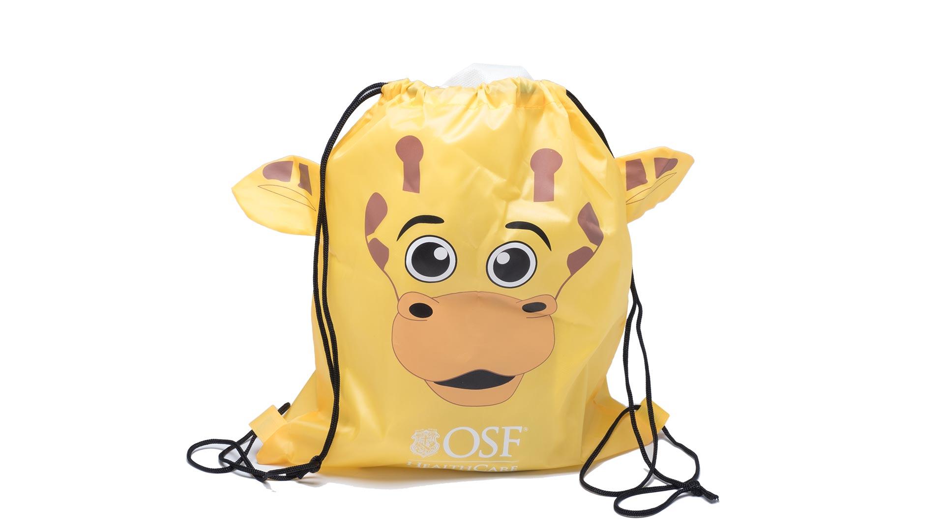 zainetto con raffigurata una giraffa gialla
