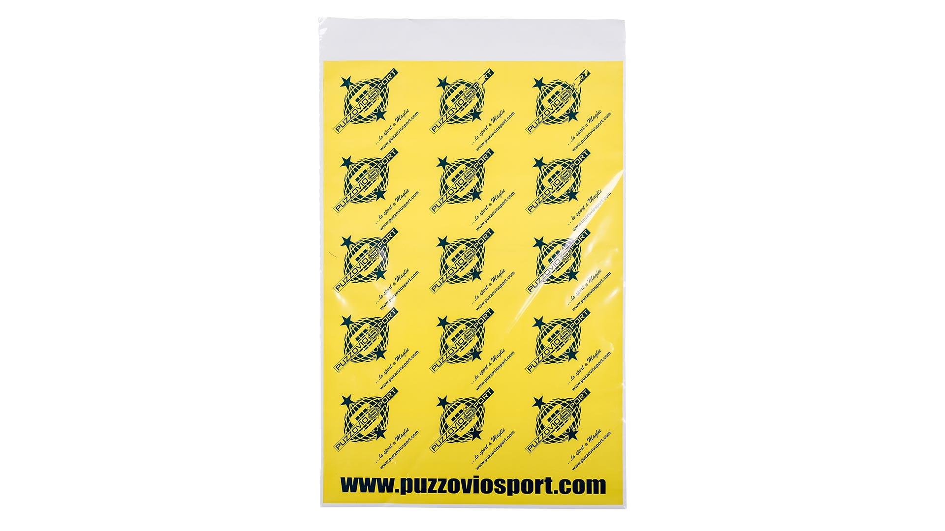 busta in plastica gialla con disegni
