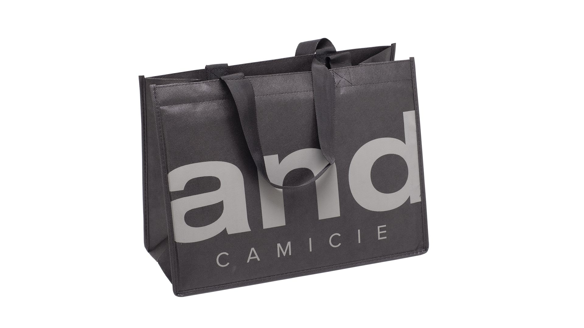 borsetta con maniglie di colore nero con scritta grigia